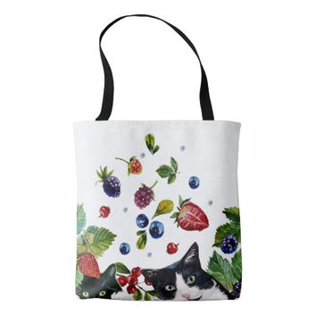 Cats and berries All-Over-Print Tote Bag