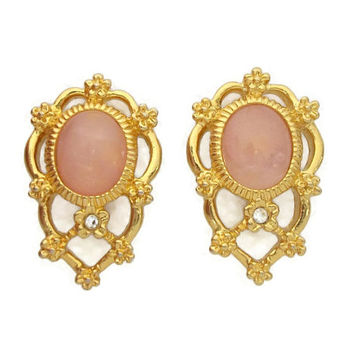 Avon Pink and Gold Tone Filigree Clip On Earrings - Blush Pink Glass Cabochon Clear Rhinestone Openwork Signed Vintage Avon Clip Ons