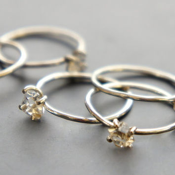 Herkimer Diamond Ring Sterling Silver Stackable Thin Band Rough Quartz Ring