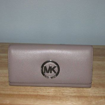 Michael Kors Fulton Pebbled Leather Carryall Wallet Organizer Cinder Silver NWT