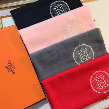 LMFUX5 Hermes Women Fashion Embroidery Wool Warm Scarf Scarves