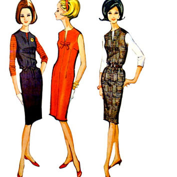 60s Easy to Sew Jumper Dress Blouse Pattern Sleeveless V Slit Neckline Quickie Size 16 Bust 36 Vintage McCalls 6929 Sewing Patterns