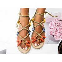 Fashion Hot Selling Women's Flat Bottom Lace Sandals Colour