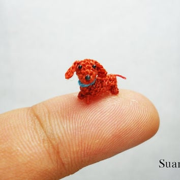 Micro Miniature Dachshund Sausage dog - Teeny Tiny Crochet  Dachshunds - Made To Order