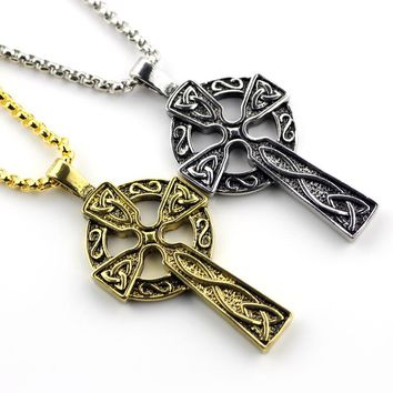 Punk Types Celtic Christian Jewelry Metal Triquetra Viking Triple Horn Of Odin Celtic Cross Male Necklaces & Pendants Gift