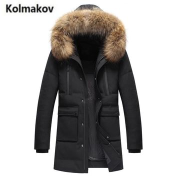 KOLMAKOV 2017 new winter high quality men's fashion long hooded big fur collar down jacket,90% white duck down coats parkas men.