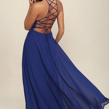 Strappy to be Here Royal Blue Maxi Dress