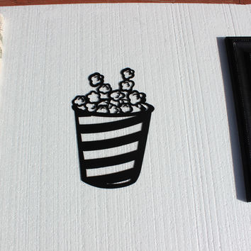 Pop Corn Bucket Home Theater Decor Movie Decor Metal Wall Art