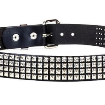 "4-Row Silver Mini Pyramid Stud Leather Belt 1-1/4"" Wide"
