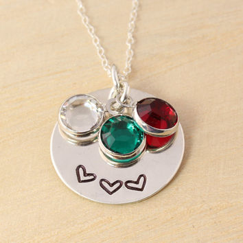 Mother's Necklace - Mother's Birthstone Necklace - Sister's Necklace - Best Friends Necklace - Heart Necklace - Gift for Mom