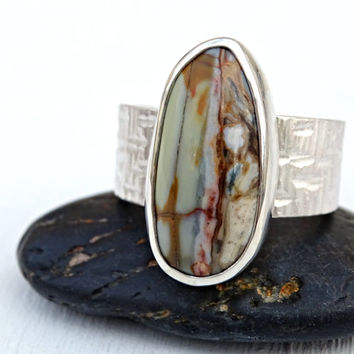 mens gemstone ring, wide mens ring jasper, mens pinkie ring, hammered silver ring gemstone, mens promise ring, mens statement ring