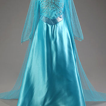 Kids Frozen Elsa Princess Party Gown Dress Girls Halloween Costume