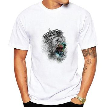 LMFON1O Fashion Men 3D Water Printed T Shirt Man funny print hair Lion King summer t shirt street wear tops tees Camisetas Day First