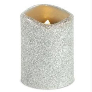 6 Led Flameless Pillar Christmas Candles - Silver Glittered