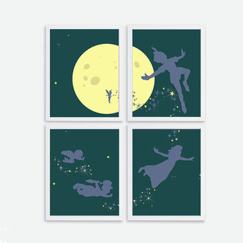 Printable Peter Pan Flying Set of 4 INSTANT DOWNLOAD Kids, Baby Nursery Wall Decor Baby Room Wall Art Peter Pan Nursery, Silhouette Art