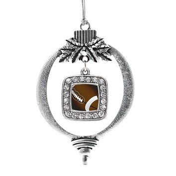 Football Lovers Square Charm Holiday Ornament