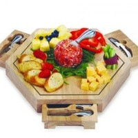 Picnic Plus Bergamo Cheese Board Wood 14.5 X 14.5 X 2 - Picnic Plus PSM-172