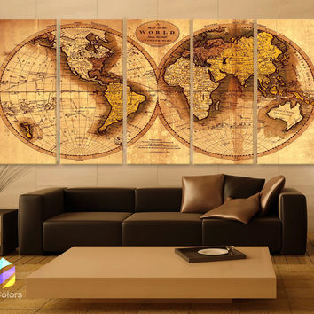 """XLARGE 30""""x 70"""" 5 Panels 30""""x14"""" Ea  Art Canvas Print Original world Map Old Vintage Rustic Wall decor Home Office interior (Included framed 1.5"""" depth)"""