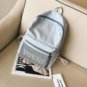 Preppy style pure color canvas backpack Contracted joker school backpack for teenage girls lightweight green travel backpack