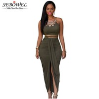 2017 Front Split Women Two Piece Set Outfits Asymmetrical Summer Maxi Dress Long Suede Bodycon Dress Green 2 Piece Bandage Dress