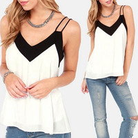 Women Chiffon Sexy V Neck Splicing Vest Loose Sleeveless Tank T-Shirt Top Blouse [8805218951]