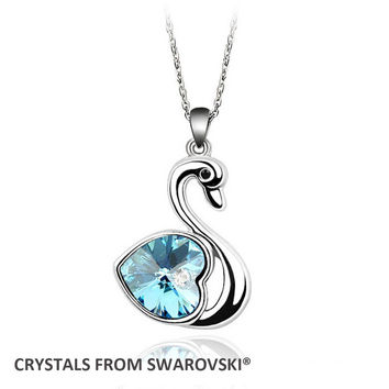 Classic Swan Pendant Necklace by Swarovski Elements™ - Available in Different Colors