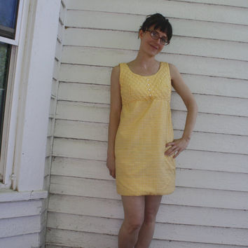 Yellow Gingham Mini Dress Summer Sleeveless Vintage Cotton Junior Petite XS