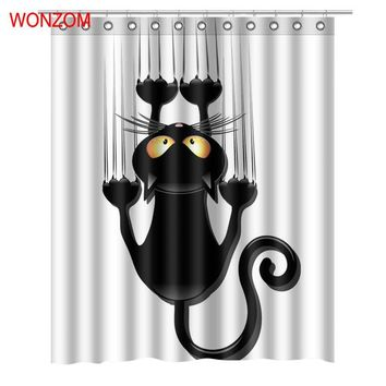 WONZOM Modern Cat 3D Polyester Fabric Shower Curtain with 12 Hooks