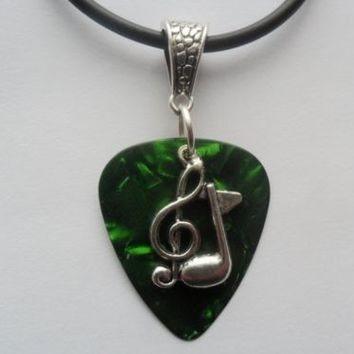 Green Fender guitar pick necklace, musical necklace, guitar pentant necklace | eBay