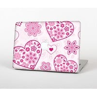 The Pink Floral Designed Hearts Skin Set for the Apple MacBook Pro 13""