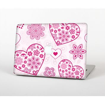 The Pink Floral Designed Hearts Skin for the Apple MacBook Air 13""