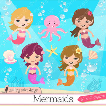 MERMAIDS DIGITAL CLIPART/ Little Mermaids Digital Clip art / Mermaids Clipart