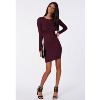 Missguided - Rainey Long Sleeve Bodycon Dress Plum