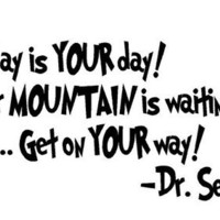 "Today Is Your Day Dr Suess Quote Wall Art 9""x18"""
