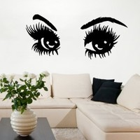 Wall Decor Vinyl Decal Sticker Words Woman Model Girl Eyes Long Lushes Make up Beauty Salon Bedroom Living Room Home Interior Design Kg863