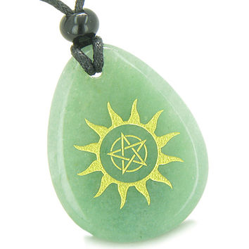 Amulet Star Pentacle Sun Energy Magic Control Green Quartz Pendant Necklace