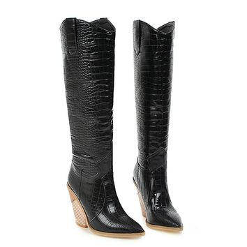 Faux Leather Knee High Wedge Western Boots Pointed Toe High Heel