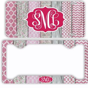 White Wood License Plate Car Tag Monogram Frame Personalized Set Custom Initials Car Coasters Distressed