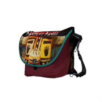 """Adventure"" cute, funny face photo messenger bag"