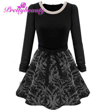 PreetyBeauty Elegant Vestidos Women Winter Autumn Pleated Dress 2016 Fashion Slim Long Sleeve Warm Dresses Ladies Zipper Clothes
