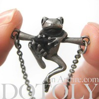 Dotoly   Baby Frog on a Branch Animal Charm Necklace in Silver   Online Store Powered by Storenvy