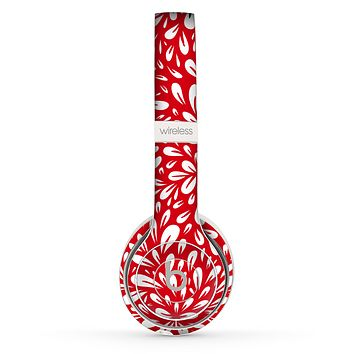 The Bright Red and White Floral Sprout Skin Set for the Beats by Dre Solo 2 Wireless Headphones
