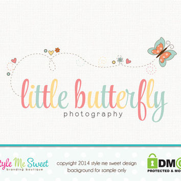 Premade Butterfly Logo Photography Logo Small Business Branding Watermark Design Hand Drawn