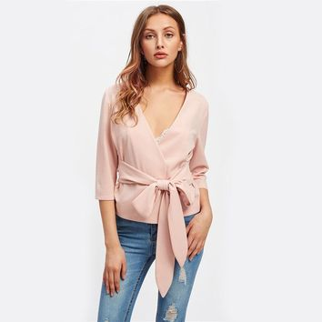 Pink Bow Belted Wrap Collarless Blazer