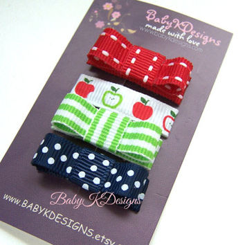 Mixed Apples Red Navy Green Bows / Infant Snap Clips / Girls Hair Clips / Baby Bow / Hairbow Infant Cips / Baby First Bow No Slip Hair Clips