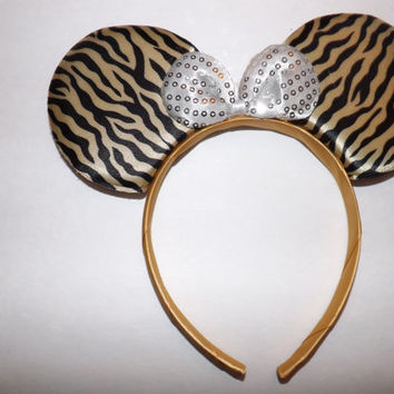 Minnie Mouse Ears Headband Zebra Animal Print Black Gold pattern white sequin bow