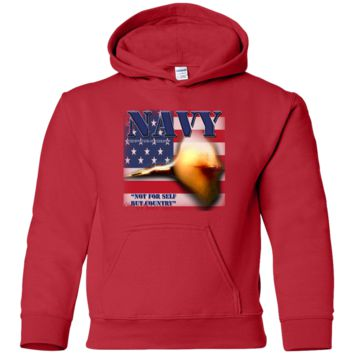 UNITED STATES NAVY : NOT FOR SELF BUT COUNTRY :: G185B Gildan Youth Pullover Hoodie
