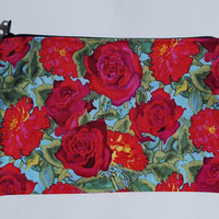 Zipper pouch, makeup bag, cosmetic bag, coin purse, makeup pouch, floral bag, zipper bag, stocking stuffer, Secret Santa, Mother's Day gift