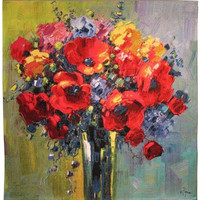 Poppy Bouquet by Pejman Tapestry Wall Hanging