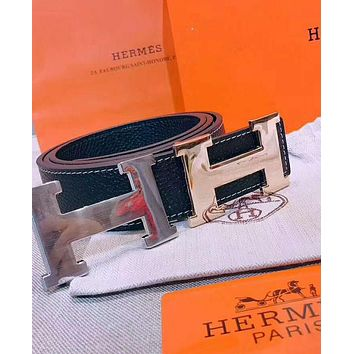HERMES Trending Women Men Stylish Simple Smooth Buckle Belt Leather Belt I-AGG-CZDL